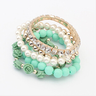 Star Jewelry 6 Colors  2014 New Fashion Crystal With Beads Flower Charm Bracelets Bangles for Women Ladies Gift