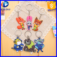 Promotional gift Zootopia PVC key chain 3d pvc keychain Zootopia Cartoon soft keychain