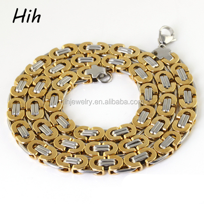 Latest stainless steel new gold byzantine necklace neck chain design for men