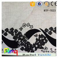 Modern Egyptian style black and white Linen/Cotton flocking fabric used for curtain sofa cushion material