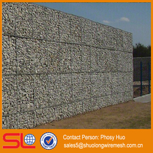 Galvanized square welded gabion cages, gabion retaining wall prices, stone fence