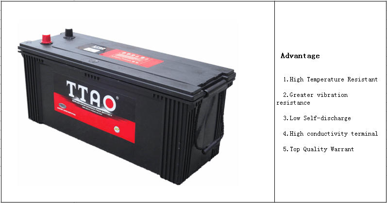 12 Volt High Quality N150MF-150ah JIS Standrad lead acid Maintenanse Free car battery for Truck Start N150MF