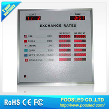 led currency display board \ currency led board for bank \ indoor bank currency exchange rates display