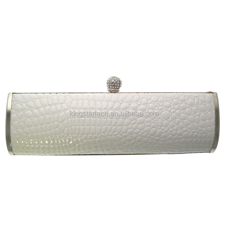 high quality fashion with metal embossed logo lady pu evening bag