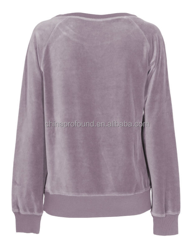 Wide collar scoop neck velvet pullover sweatshirt without hoodie for women