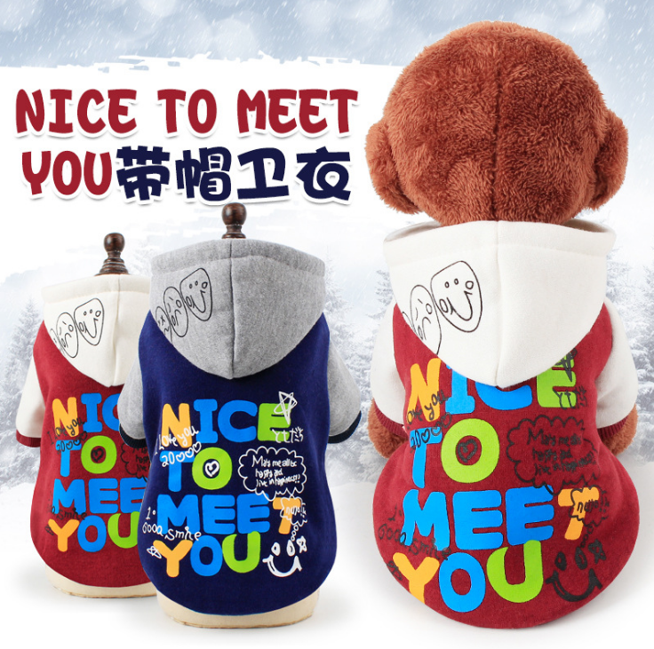 pet clothing dog clothes winter two feet dog hoodies nice to meet too pet sweater supplies