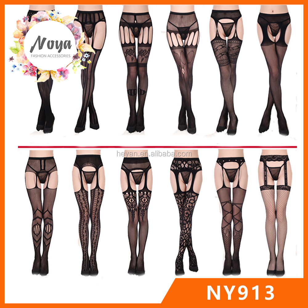 Cheap Black Lace Lingerie - Thigh High Panty Hose