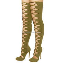 Women round toe lace up Olive green paddy lycra side zipper over knee high stiletto hollow boots big size