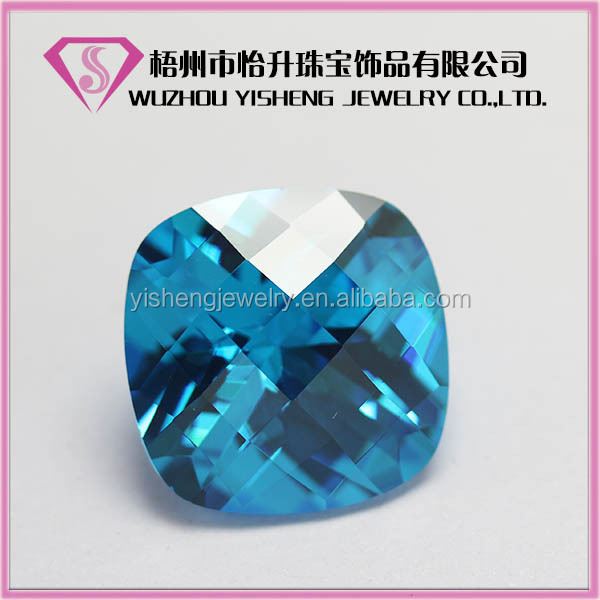 AAA Wuzhou Hot Sale Cushion Faceted Cut Bule Gem stone For Jewelry