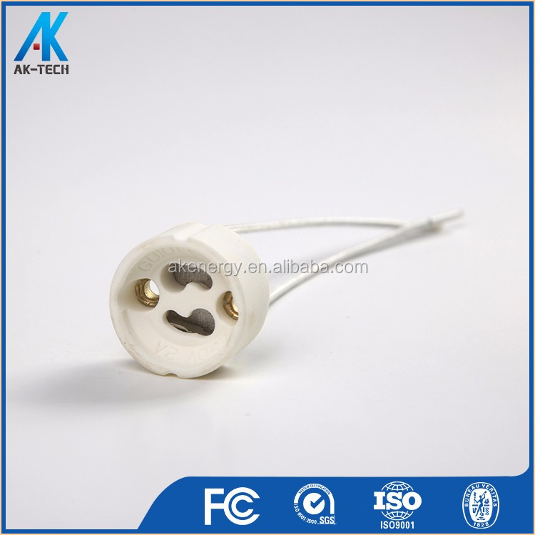 porcelain lamp gu10 holder , ceramic gz10 gu10 lamp socket with wire
