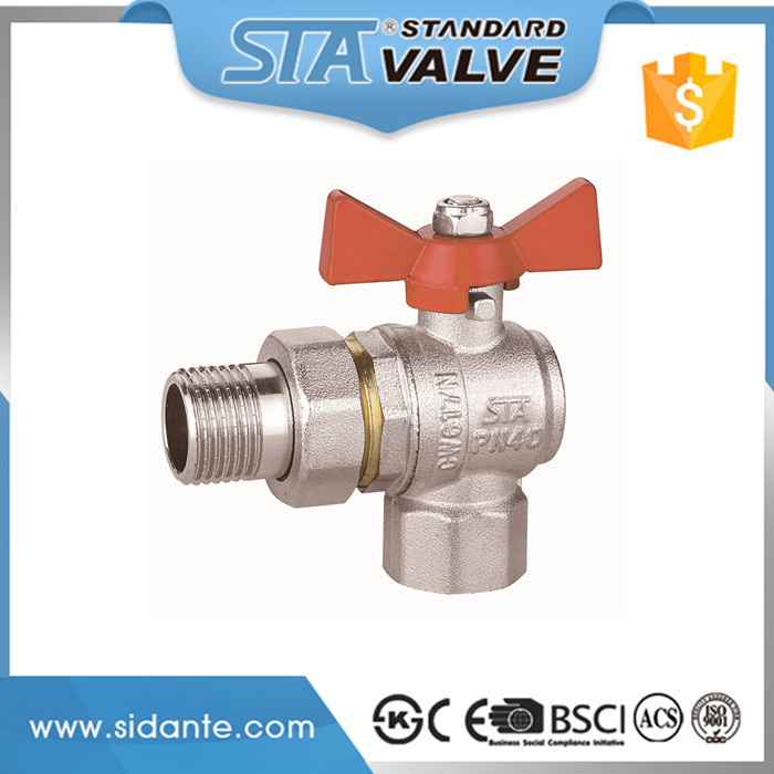 "ART.1021 Hot Sale 1/2"" DN15 brass body nickel plated female and male threaded angle brass ball valve with steel butterfly handle"