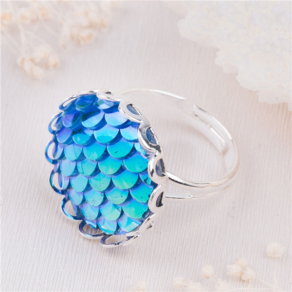 Blue Color Copper & Resin Adjustable Fish /Dragon Scale Rings
