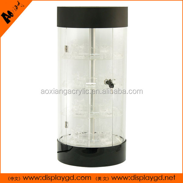 LED Rotating Lock Supermarket Acrylic Display Cabinet for phone