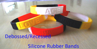 Debossed Mutiple Stripe Silicone Rubber for giveaway, China Hot Sell Debossed Segmented Silicone Bracelets for Party