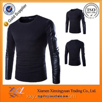 handmade knitting leather long sleeves cheap wholesale crewneck sweatshirt