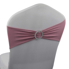 BS00136 blush pink Lycra Wedding Spandex Stretch Chair Band With round buckle