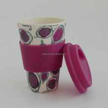 Hot sales bamboo fiber coffee mug with silicon lid+sleeve