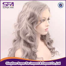 Transparent lace front wig fiber Silver grey hair wig
