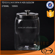 Hot sale glass storage container with mental lid