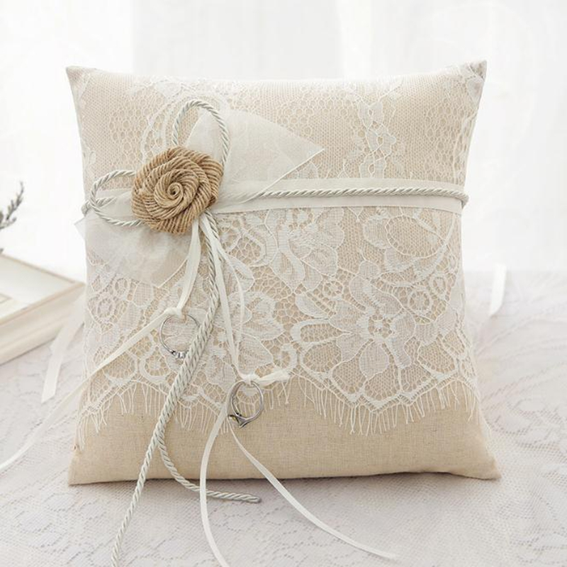 Vintage Rustic Burlap Lace Wedding Ring Pillow