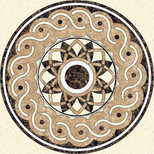 Fashionable customized natural stone gold marble medallion inlay