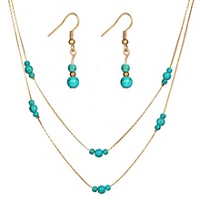 2019 Excellent quality turquoise hot sell jewelry set charming girls jewelry set