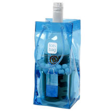Hot sale transparent pvc plastic wine ice bag with handle