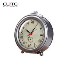 souvenirs roman numeral metal silver sweep alarm table clock