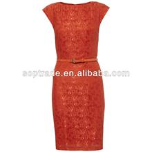 Coral Lace cap sleeve dress women
