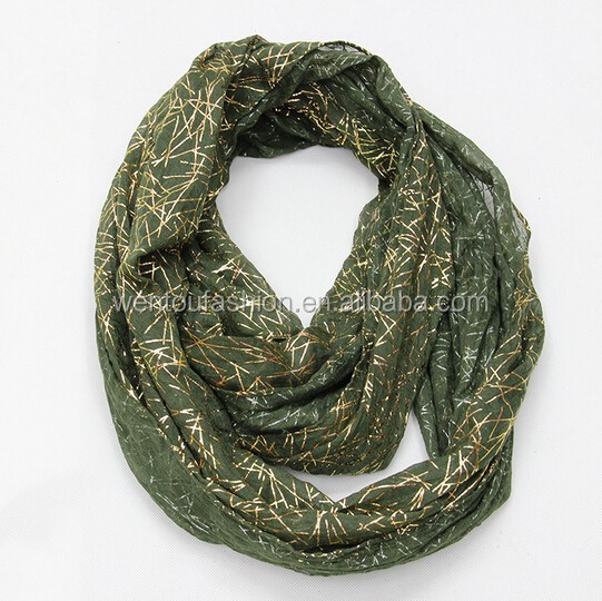 Natural solid color voile gold stamp wrinkle Infinity scarf