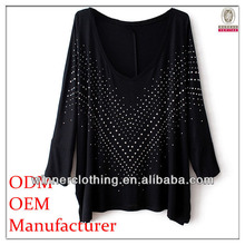 2014 hot selling ladies high fashion printed sexy women tube tops with deep v-neck and long sleeves