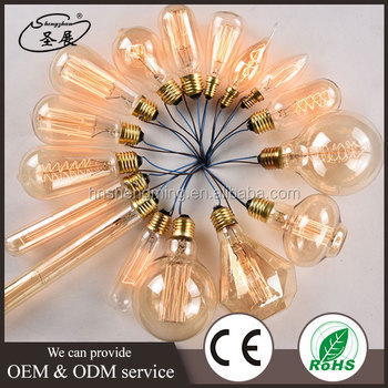 Factory wholesale 25w 40w 60w e26 e27 b22 hanging vintage industrial edison style light bulbs st45 st58 st64