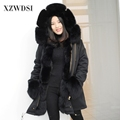 CX-G-P-02B Fashion winter lining real fox fur coat women hooded parka