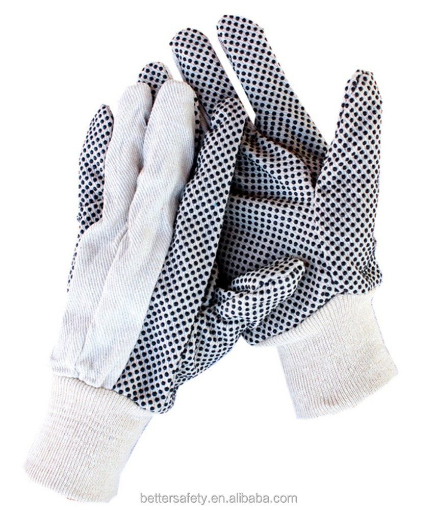 All-Purpose Knit Wrist White Black Dots Cotton Glove Best Selling