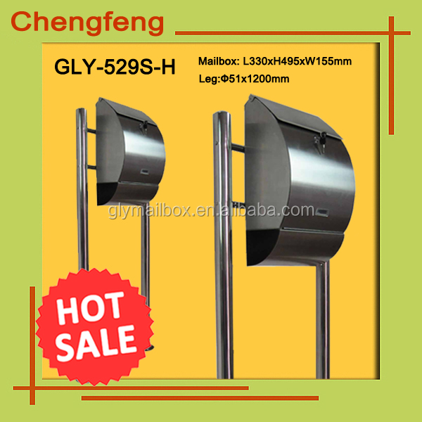 Durable 18/8 Stainless Steel Free Standing Mailbox