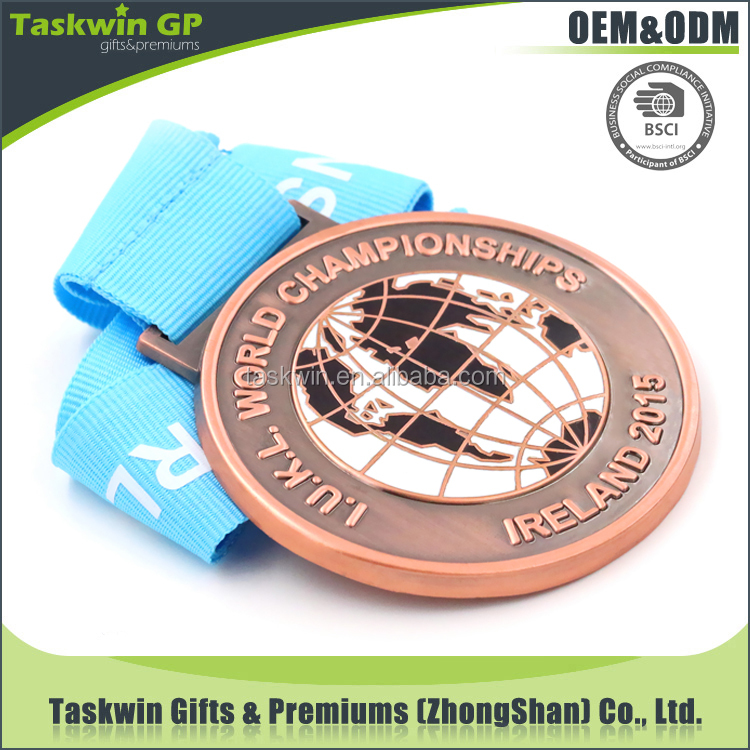 Professional world championships iron stamped gold /silve/bronze metal medal