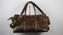 Retro Cowhide Big Type Brown Travel Bags For Men