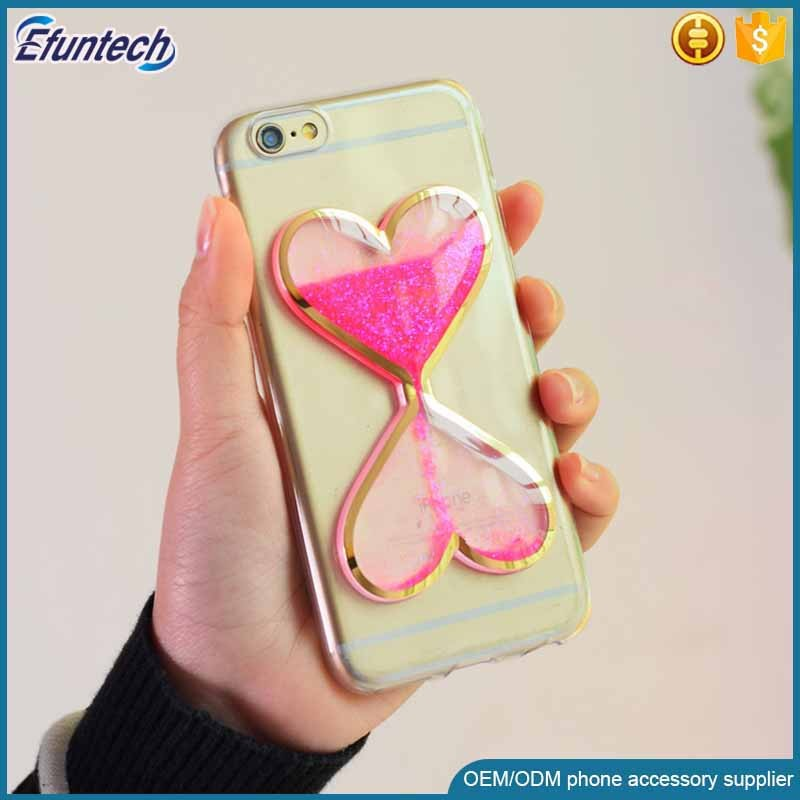 2016 Hot selling products transparent fluorescence light heart liquid sand soft TPU mobile phone case for iphone 6s case