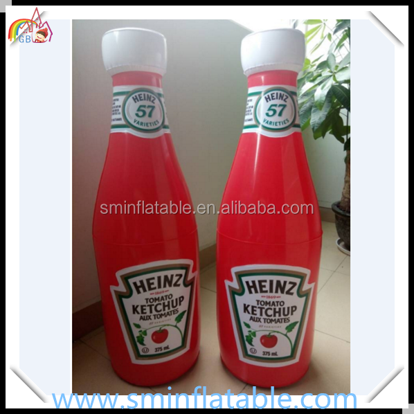 Promotion inflatable ketchup bottle,commercial inflatable tomato paste , tomato sauce bottle replica for advertising