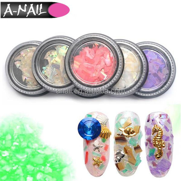12 Colors 3D Glitter Nail Art Decorations Shell Paper Sheet Flake Thin Slice Nail Sequins Shell Fragments