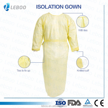 Yellow disposable isolation gown