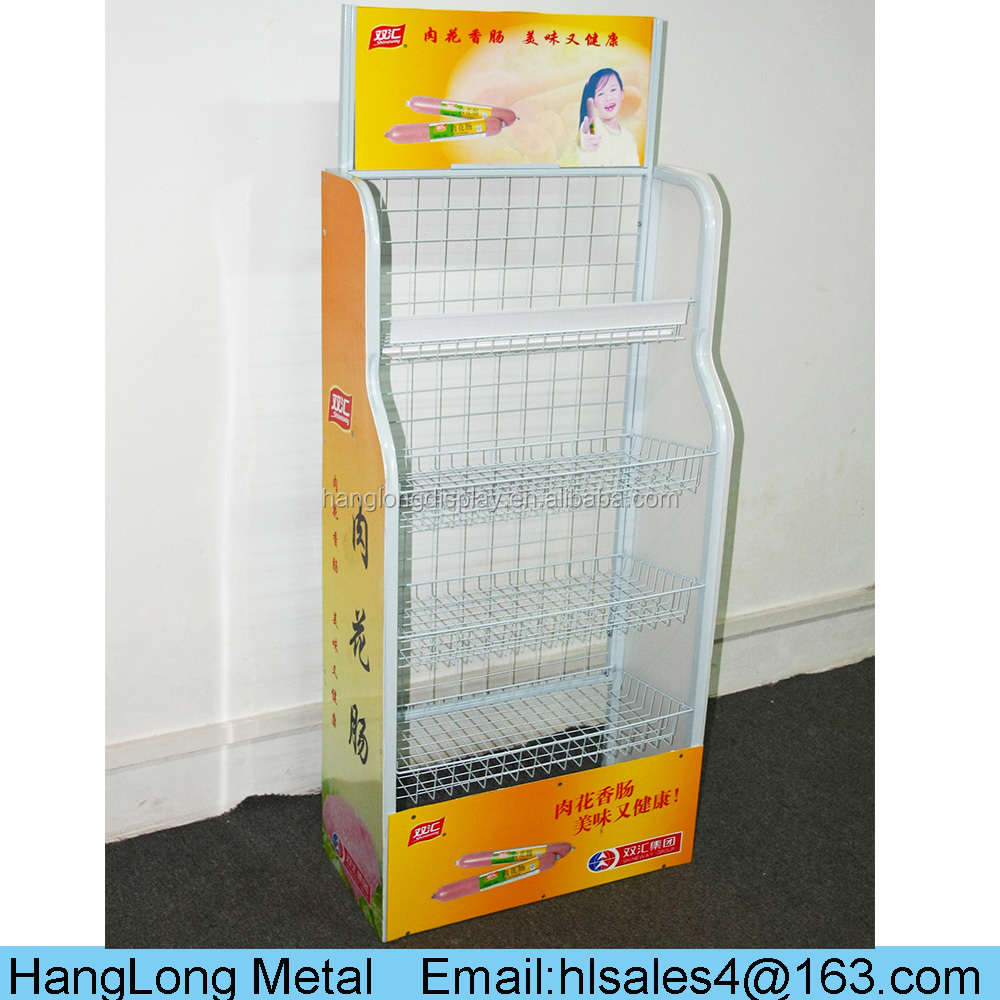 Wholesale 4 Tiers Metal Display Shelf Rack for Supermarket Goods Storage HL-L070