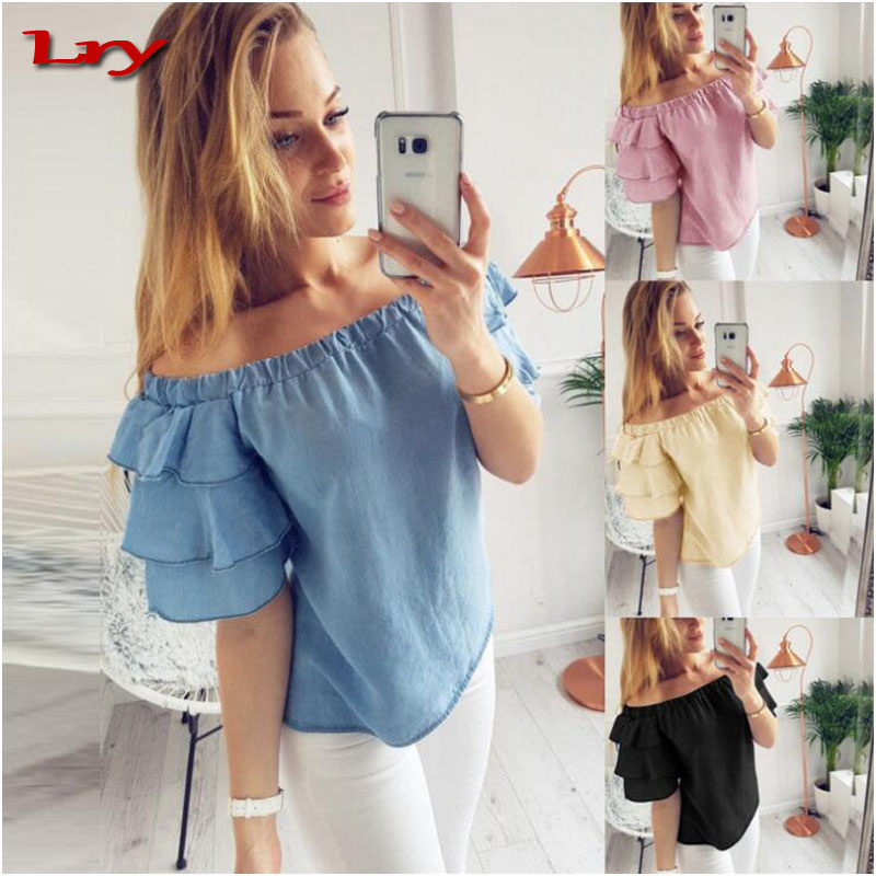 Wholesale lady blouses 2017 fashion off shoulder women sexy tops and blouses with Fold the sleeve