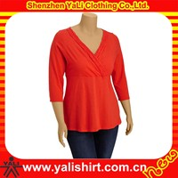 Custom latest style solid color v-neck drape cotton new design long shirt women