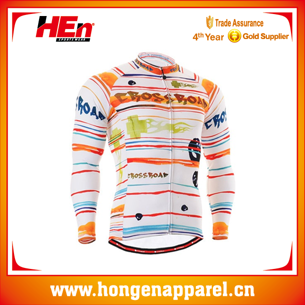 2015 College Style Long Sleeve Bicycle Jersey Paypal/Customized Long Sleeve Cycling Jersey