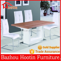 2015 new design wood table top and high glossy painting shelf and metal base dining table set for dining room furniture