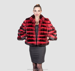 Custom whole pelts high quality professional dyes Exceptional chinchilla fur jackets for sale