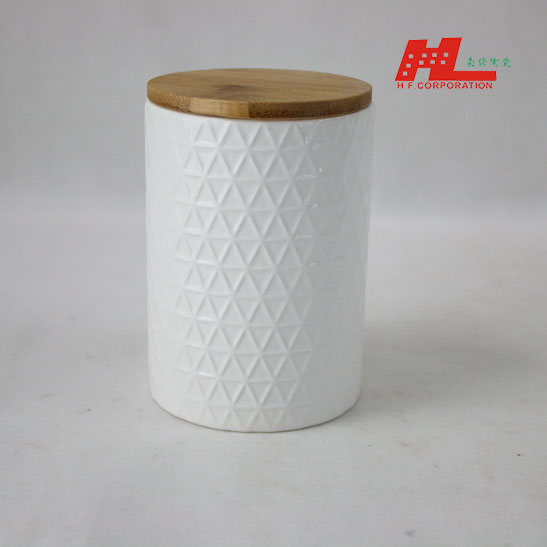 ceramic candle canister with wood lid