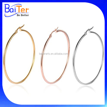 Womens Round Circle Gold Plated Hoop Earring/Surgical 316L Stainless Steel Big Large Hoops Earrings
