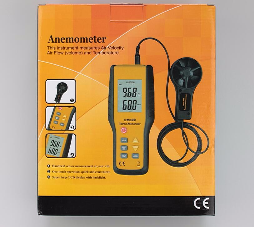 HT-9819 anemometer digital anemometer wind speed meter air flow meter LCD Display Velocity Temperature Measuring tacometro